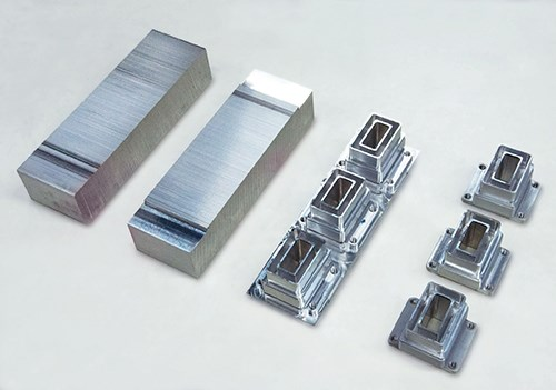 raw aluminum block, dovetail feature and nested components