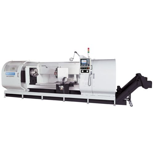 Sharp Industries Big Bore CNC flat-bed lathe