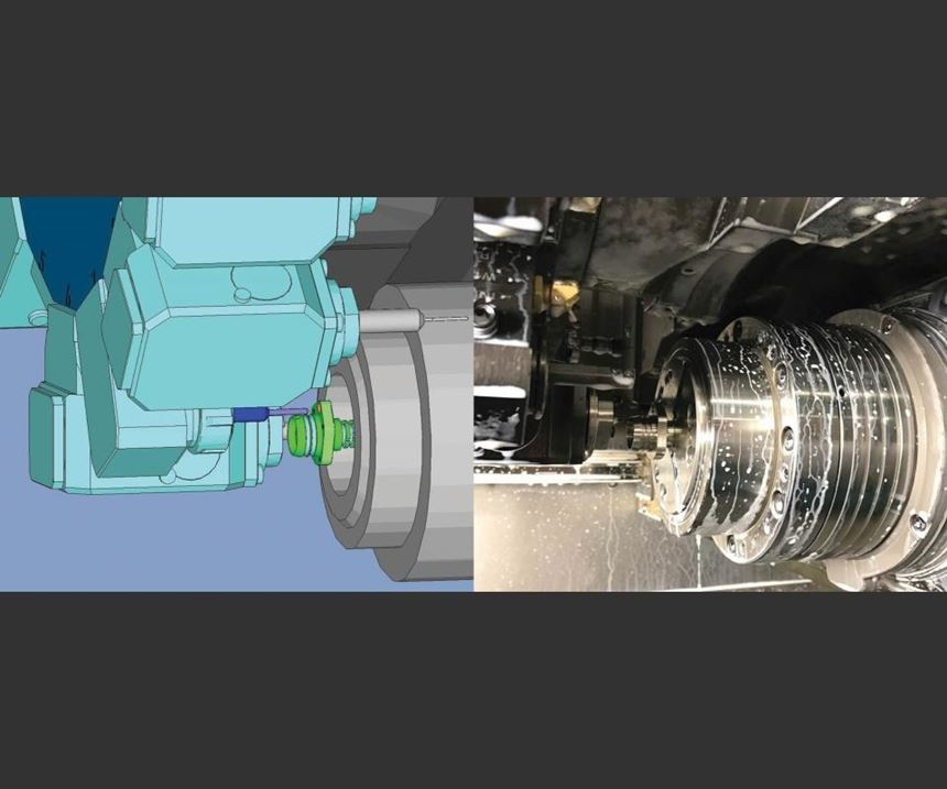 side by side view of CAM simulation