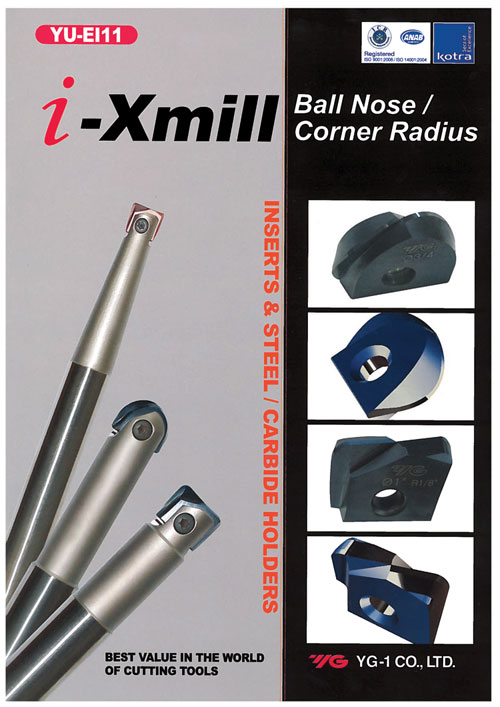 YG-1 i-Xmill ball-nose and corner radius inserts and holders