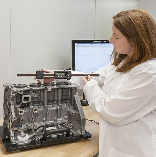 long-range digital indicator process performed by female technician