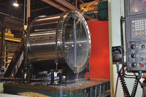 Machining a large oilfield component