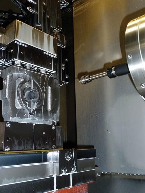 an end cap machined by a Mazak HCN 6000