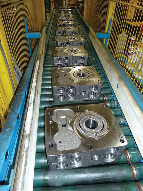 parts loaded on conveyor