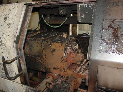 Fire-damaged machine tool