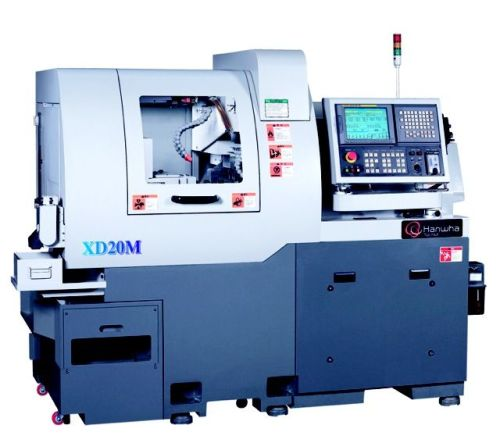 Hanwha machinery america's seven-axis model XD20M cnc Swiss-type lathe
