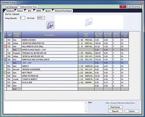 Realtrac's ERP software's router in estimate group