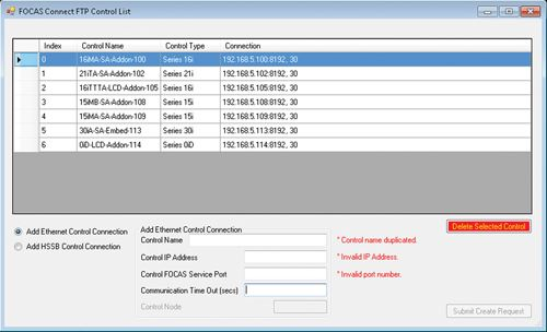 FASConnect server screen
