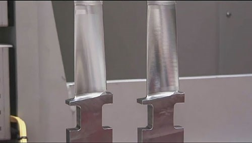 example of an as-machined blade and a dengeling finished blade