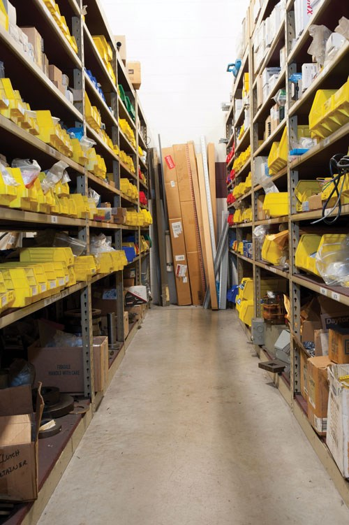 Rows of cluttered shelves and tool bins used to be a common sight at Transfer Tool.