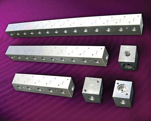 aluminum manifolds (bars) and valve bodies (blocks)