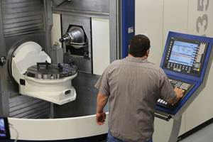 two Grob G350 horizontal five-axis machining centers