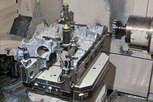 face milling setup on diesel manifolds at Ward Production Engineering