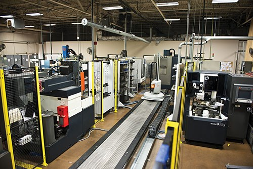 The single Workmaster automation system services three machining centers in this shop overview