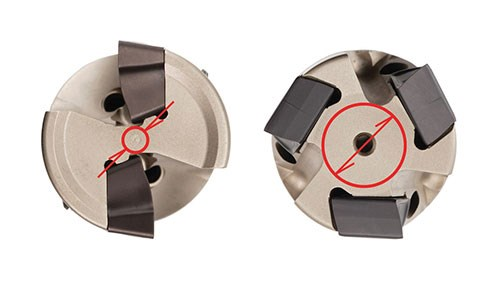 1-inch, four-flute tangential cut with a milling cutter body and a conventional cutter body