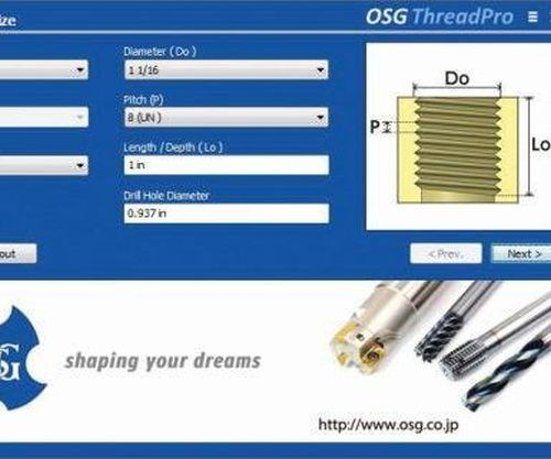 OSG ThreadPro software for NC code generation