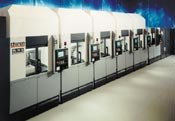 Machining centers arranged in series