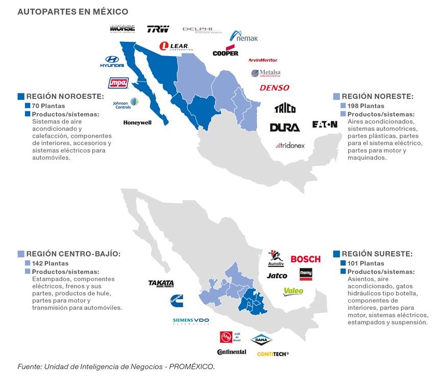 Mapa de producción de autopartes en México.