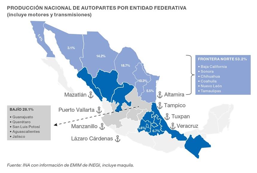 Producción nacional de autopartes por entidad federativa.