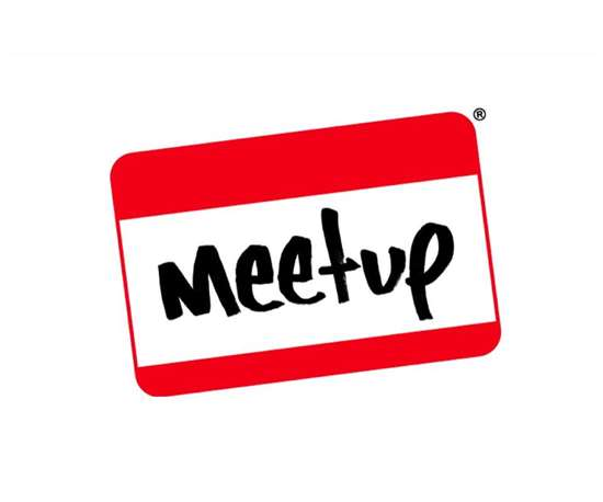 """name tag sticker with """"meetup"""" where name goes"""