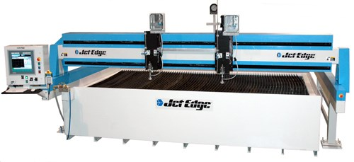Jet Edge mid rail gantry waterjet system