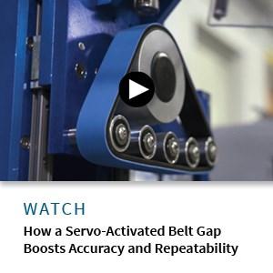 servo-activated belt gap for puller/cutter unit for medical tubing