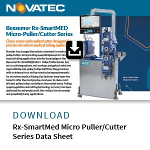 data sheet on Novatec puller/cutter for medical tube extrusion