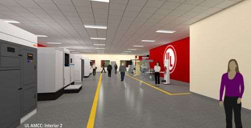 The UL AMCC will include various companies' additive manufacturing machines, as suggested by the row of machines in this rendering.
