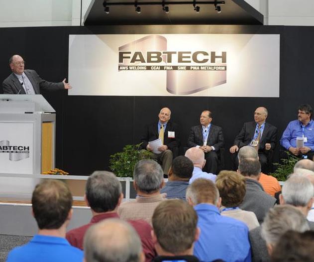 speakers on a podium