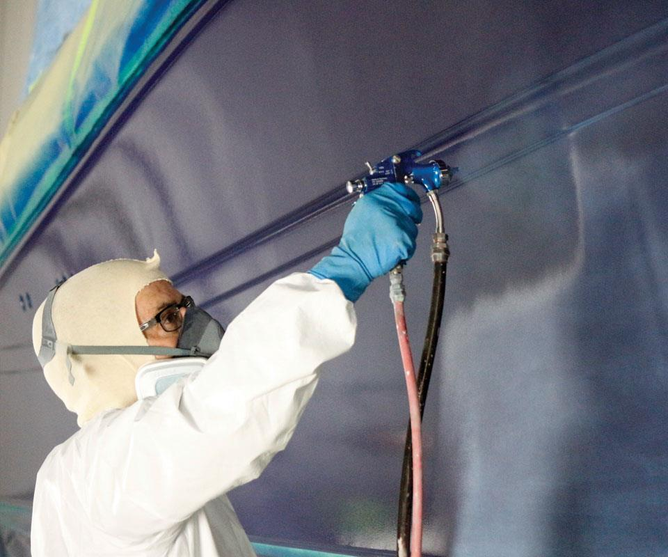 The pressure-fed spray gun makes covering a large area easy, eliminating the need to stop spraying  and mix additional material.