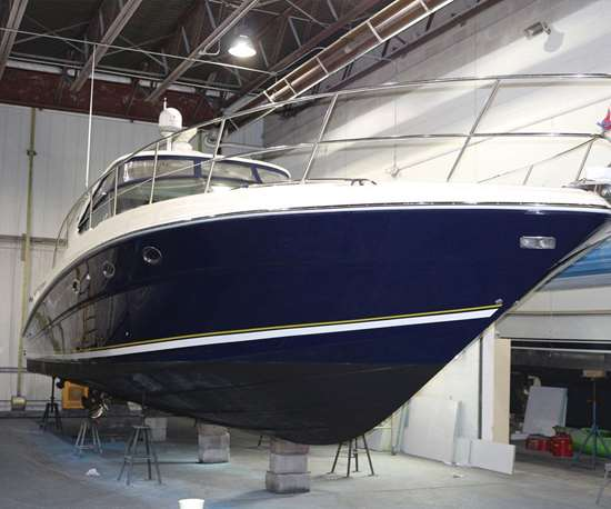The yacht had several scrapes and holes down the starboard side, resulting from being banged around by docks that were ripped from their moors during a 2014 storm.