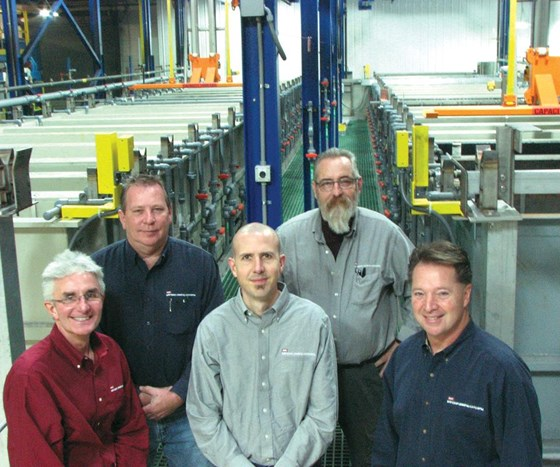 From left: Brian Isola, vice president of sales; Duane Jauch, plant manager; Ted Dobbels, chief financial officer; Chuck Runyan, technical director; and Rich Macary, president.