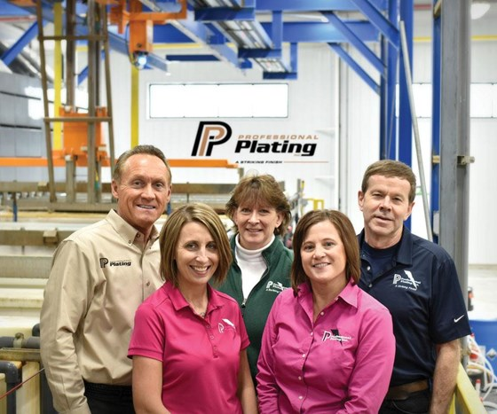 From left to right, general manager Larry Dietz, powder coat manager Jessica Moskow, office team manager Sue Cohen, zinc business team manager Kerry Behnke, and maintenance manager Carl Weber.