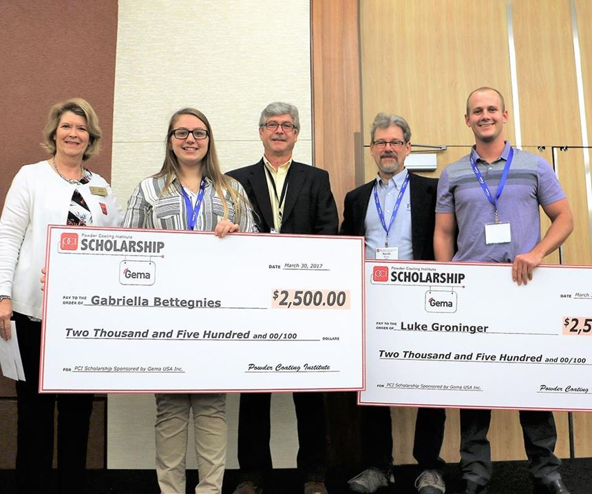 PCI Executive Director, Trena Benson, along with Gema USA General Manager Chris Merritt and PCI Future of Technology Subcommittee Chair, Kevin Biller, present the PCI/Gema scholarship awards to Gabriella Bettegnies and Luke Groninger at the PCI Powder Coating 2017 Technical Conference.