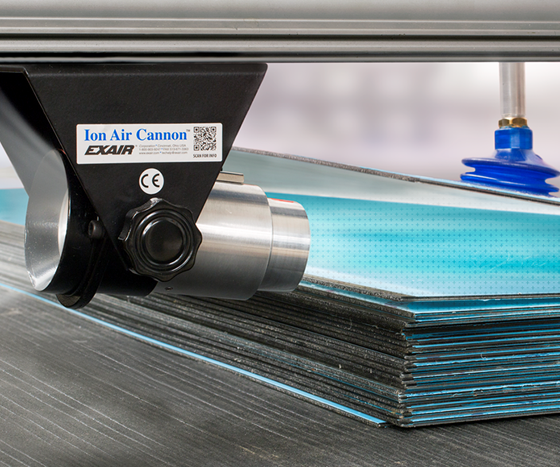 Exair Ion Air Cannon static eliminator removing static from acrylic panels.