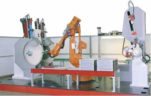 Robotic cell for belt grinding/polishing and buffing of buckles.