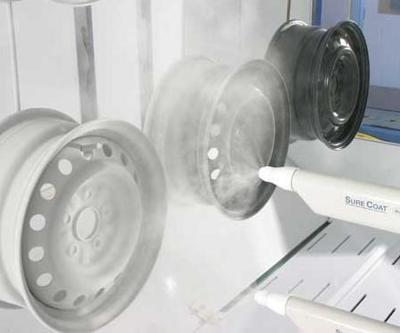 Clear coat powder applied to automotive wheels