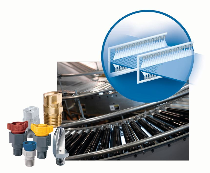 By automating a cleaning  system and placing manifolds above and below conveyors, most processors report a 50-60% drop in water and chemical use.