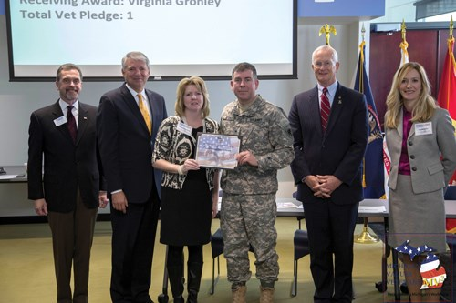 Pictured Lt to Rt: ESGR State Chair Paul Ryan; TMG Founder and President Joe Barto; Virginia Gronley of Axalta Coating Systems; Brigadier General Michael A. Stone; Assistant Adjutant General- Installations-COL (Ret) Hugh