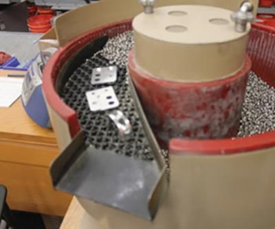 Bowl with part/media unload system