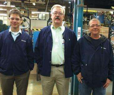 Moen's plating engineering group includes, from left to right, Christian Wiggins (CEF), Jim Romine (MSF) and John West (CEF).