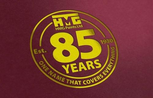 HMG Paints 85th Year Logo