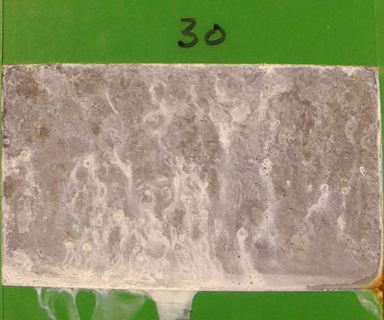 11,005 hours: Corrosion test panels of brush plated zinc-nickel LHE with a trivalent conversion coating.