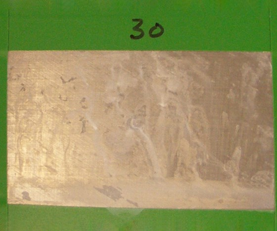 196 hours: Corrosion test panels of brush plated zinc-nickel LHE with a trivalent conversion coating.