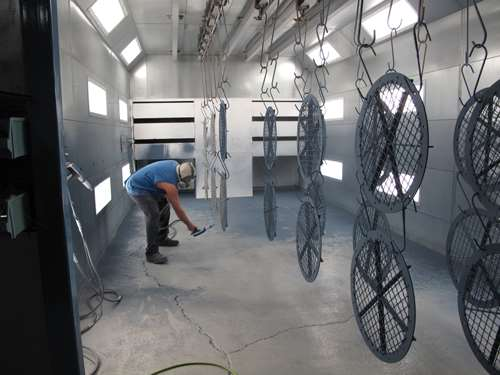 powder coating large fans