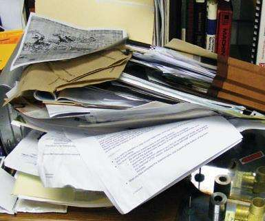 piles of messy papers