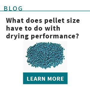 Pellet size effect on plastics resin drying