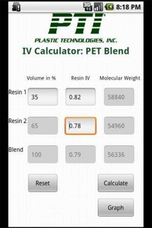 PET Blend IV Calculator from Plastic Technologies Inc.