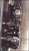 close-up of the turning center's machining area