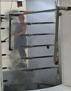 Powder coating application guns